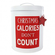 Christmas Cookie Tin Calories Don't Count Biscuit Barrel