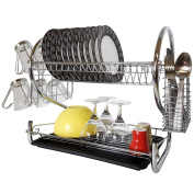 Tatkraft Helga 2 Tier Chromed Dish Drainer with Mug Holder and Cutlery Drainer