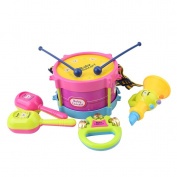 Lalang 5pcs Kids Baby Roll Drum Musical Instruments Band Kit Baby Drum Set Toy