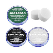 18ml Snazaroo Professional Non Toxic Reusable Water Based Halloween Face Paint Set (GREEN, Black, White & Two Sponges) Dead Zombie Set
