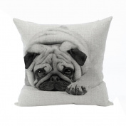 Nunubee Cotton Linen Square Throw Pillow Case Decorative Cushion Cover Pillowcase for Sofa Realistic Dog