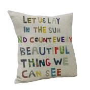 Nunubee Square Cotton Linen Pillow Case Sofa Letters Throw Cushion Cover Home Decor Colourful
