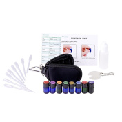 Aroma Designs Personal Health Care Kit - Key Chain Pouch & 8 100% Pure Therapeutic Grade Essential Oils - Protect Blend, Soothe Blend, Frankincense, Lemon, Lavender, Peppermint, Melaleuca, Oregano