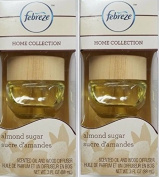 Lot of 2 Febreze Home Collection Wood Diffuser ALMOND SUGAR 90ml Lasts 30 days