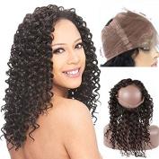 ZM Hair 360 Lace Band Frontal Closure (36cm ) 100% Human Remy Hair Natural Black Colour Deep Wave Hair Free Part 13x 4x 2 Closure With Baby Hair Around Head