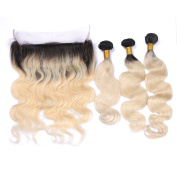 Tony Beauty Hair Ombre Body Wave Human Hair 3 Bundle With 360 Lace Band Frontal With Baby Hair 2 Tone Ombre #1B/613 Hair Weaves With 360 Lace Band Frontal