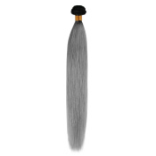 Beauty7 Dip Dye Ombre Grade AAAAAAA Remy Human Hair Weft Weave Extension Straight Two Tones 1:9 Natural Black to Smoky Grey #T1B/Grey