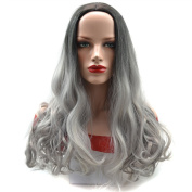 Stepupgirl Ombre Wig, 60cm Black to Granny Grey Colour Middle Curly Synthetic Cospaly Party Full Head Hair