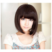 X & Y ANGEL Straight Short Bob Wig with Flat Bangs Natural As Real for Women Dark Brown