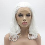 Lushy Cheap Medium Long White Colour Wigs Heat Friendly Heavy Density Synthetic Hair Lace Front Women Cosplay Wigs