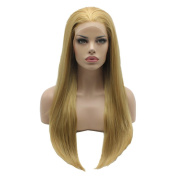 Lushy . Straight Long Silky Four Tone Honey Blonde Mix Colour Wigs Half Hand Tied Heat Friendly Heavy Density Synthetic Hair Lace Front Women Wigs