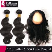 V-Beyonce 360 Lace Frontal Closure With Bundles Brazilian Virgin Human Hair 1/2/3 Bundles with Free Part Closure Body Wave 24 24 with Frontal 20