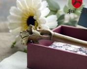 USonline911 Green Sandalwood Handmade Carved Wooden Hair Stick Flower Styles