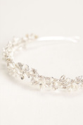 Crystal and Pearl Flower Bridal Headband Style HCT258, Silver