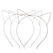 Lux Accessories Tri Colour Wire Cat Ears Headband Multi Pack Set
