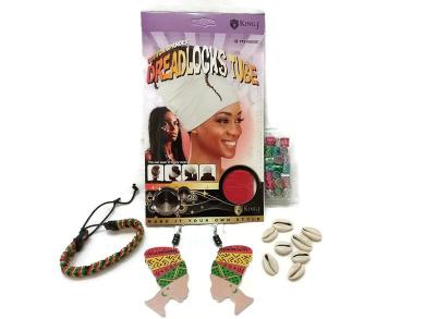 King.J Cotton Spandex Dreadlocks Tube, Head Wrap Earrings, Multi-Colour Metal Hair Cuffs, Sea Shell Hair Beads & Drawstring Bracelet Bundle (5 items) - (Red)