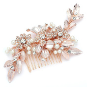 Mariell Designer Bridal Hair Comb with Hand Painted Rose Gold Leaves and Pave Crystals