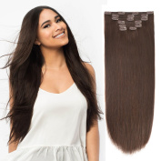 46cm Clip in Extension Human Hair Clip Extensions Remy Hair Double Weft Dark Brown 2# 7pieces 105gram110ml