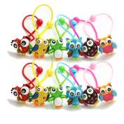 12Pcs Cute Owl Hair Holder Little Girl Hair Holder Colourful Owl Girl's Hair Rope Ponytail Kids Holder Elastic