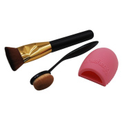 eNilecor Flat Contour Makeup Brush,Oval Makeup Brush Cosmetic Foundation Cream Powder Blusher Toothbrush Curve Foundation Brush & Glove MakeUp Washing Cleaning Brush Scrubber Board