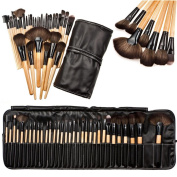 CoKate Makeup Brush Set, 32PC Eyebrow Shadow Makeup Brush Set with Pouch Bag Wooden