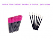 KINGLAKE® Disposable Lip Brushes Mascara Wands 50 Pcs Pink Eyelash brushes + 50 Pcs Lipstick Gloss Wands Perfect Make Up Tool