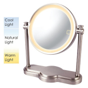 Ovente MHT80BR Dual Sided Multi Touch Tabletop Vanity Mirror, Nickel Brushed, 20cm , 1.6kg