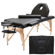 Saloniture Professional Portable Massage Table with Backrest - Black