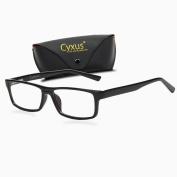 Cyxus Blue Light Filter (Transparent Lens) Better Sleep Block UV Rectangle Reading Computer Glasses, Great for Anti Glare Blocking Headaches Eye Strain