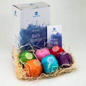 Bath Bombs Gift Set by Mio Naturals - 6 Handmade Fizzies Extra Large Size (120ml each) - Natural and Aromatic - Ideal Gift for Her or Him, Husband or Wife, Mother or Sister, Friend or Cousins