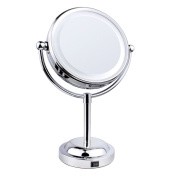Cosmetic Mirror,LED Silver Mirror 360 Degree Free Rotation 3x Magnification Two-Sided Tabletop Makeup Mirror by Hmane