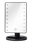 Makeup Light Mirror, Charminer 16 LEDs Touch Light Illuminated Cosmetic Desktop Vanity Mirror with Stand,Handy Touching On/Off Black