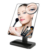 Makeup Mirror,Charminer 20 LEDs Touch Screen Light Illuminated Cosmetic Desktop Vanity Mirror with Removable 10x Magnifying Spot Mirrors