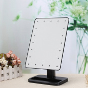 Make Up Mirror,Charminer Illuminated Cosmetic Desktop Vanity Mirror with 20 LED lights with Stand,Handy Touching On/Off Black
