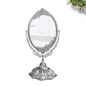 KINGFOM™ Antique Two Sided Swivel Oval Desktop Vanity Makeup Mirror with Embossed Roses and Mounted Beads for Home, Jewellery or Watches Cosmetics Showcase