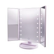 Lighted Makeup Mirror,CarBoss Touch Screen 180 Degree LED Table Makeup Mirror -Three Panel 16pcs USB Rechargeable Led Light Tabletop Cosmetic Mirror with USB Cable,2X and 3X Magnification