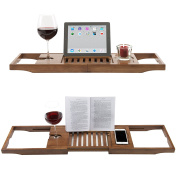 Luxury Dark Walnut Brown Bathtub Caddy, Natural Premium Bamboo Bath Tray with Extending Sides, Reading Rack, Wine Glass, Book and Tablet Holder