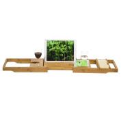 GoBam Bath Caddy trays Bathroom Bamboo Shower Bathtub Tray Organiser