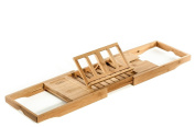 Prosumer's Choice Natural Bamboo Bathtub Caddy Tray Organiser With Book, Tablet, Phone, Wineglass Holder