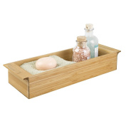 mDesign Toilet Tank Storage Tray for Tissues, Candles, Soap - 7.6cm , Natural Bamboo