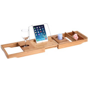 MIAOYING Bamboo Bathtub Caddy Tray Organiser with Extending Sides
