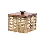 Kate and Laurel Glenda Square Perforated Gold Metal Canister with Walnut Solid Wood Lid