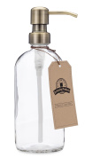 Clear Glass Pint Jar Soap and Lotion Dispenser with Metal Pump