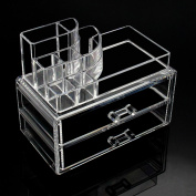 Mochiglory Mini Acrylic Makeup Organiser Cosmetic Jewellery Storage Box Case 2 Drawer with Lipstick Stand