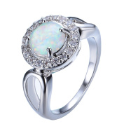 FT-Ring Shiny Round Fire Opal Rings Fashion White Jewellery For Women Engagement Wedding Rings