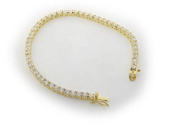 """Silver Gold Plated 3mm Cz """"Tennis"""" Bracelet 7"""" with Security Lock"""