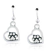 Sterling Silver I Love My Dog Open Heart with Dog Paw Print Earrings on French Wire