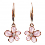 Amazing 9K Rose Gold Genuine Pink Mother of Pearl and 0.05ct Natural Diamond Lovely Earring