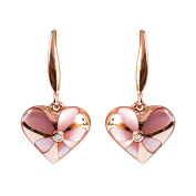 9K High Polished Rose Gold with Pink Pearl and 0.01ct Diamond Beautiful Earrings