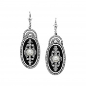 Van Kempen Art Deco Simulated Pearl Drop Earrings with Crystals in Sterling Silver